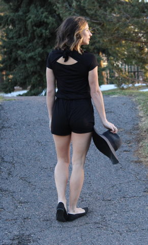 Black Button Up Romper with Pockets