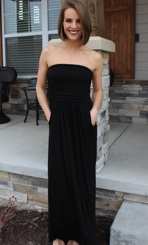 Black Strapless Maxi with Pockets
