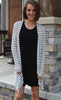 Cream and Black Striped Long Sleeved Angled Cardigan