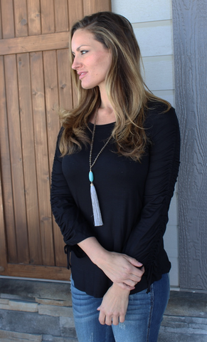 Soft and Stretchy Black Top with Ruched Tie Sleeves