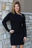 Black Side Zipper Mock Neck Dress