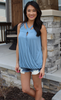 Black or Blue Cross Front Tank Top