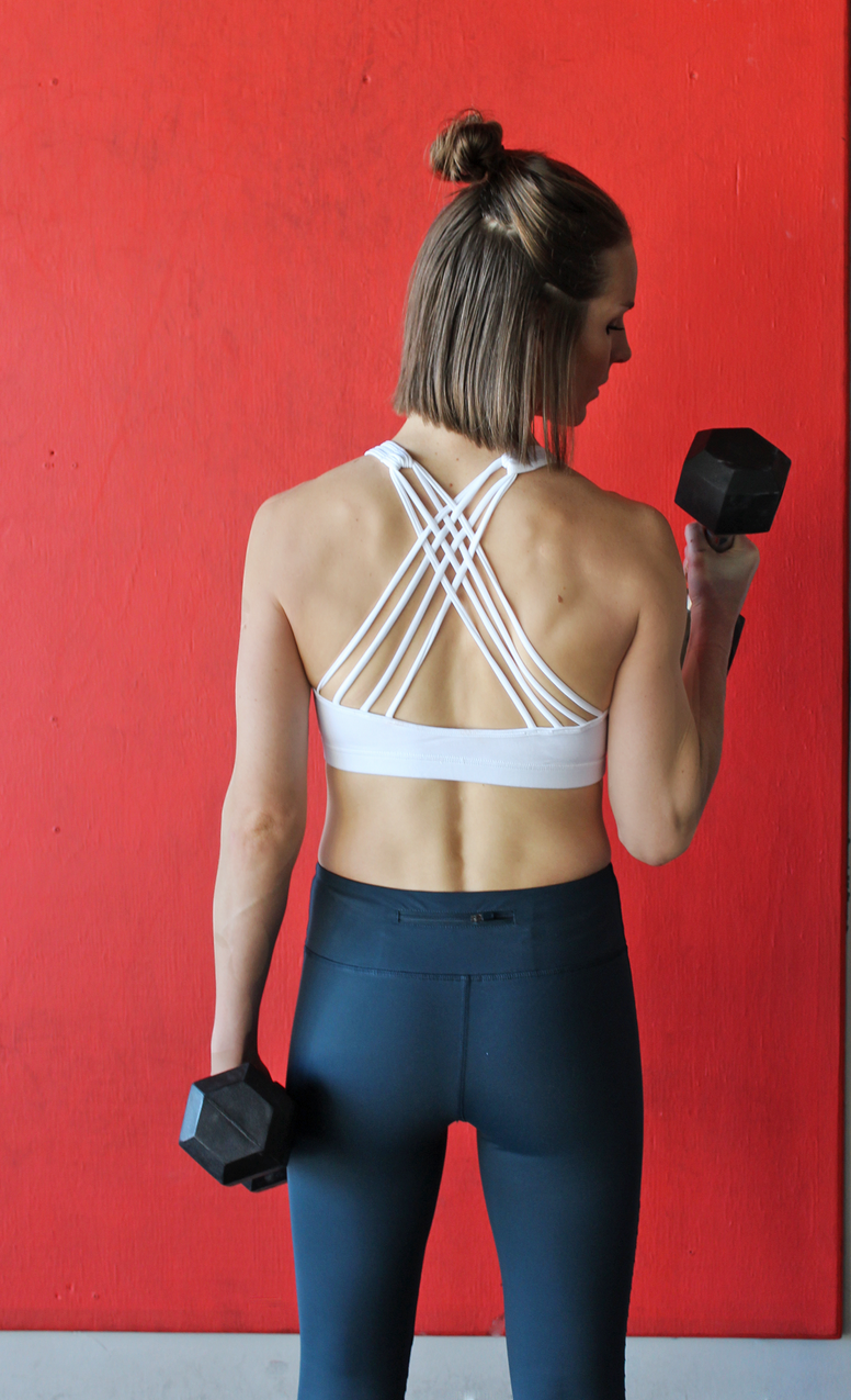 White Sports Bra with Removable Pads and Strappy Back