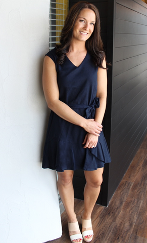 Navy V-Neck Woven Dress with Sash