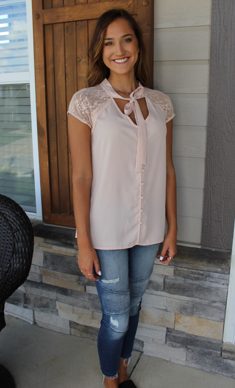 Semi-Sheer Button Up Blush Top with Tie Neck
