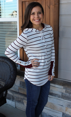 Striped Hoodie With Burgundy and Lace Accents