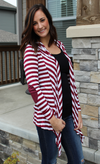 Burgundy and White or Black and White Super Soft Cardigan with Elbow Patches