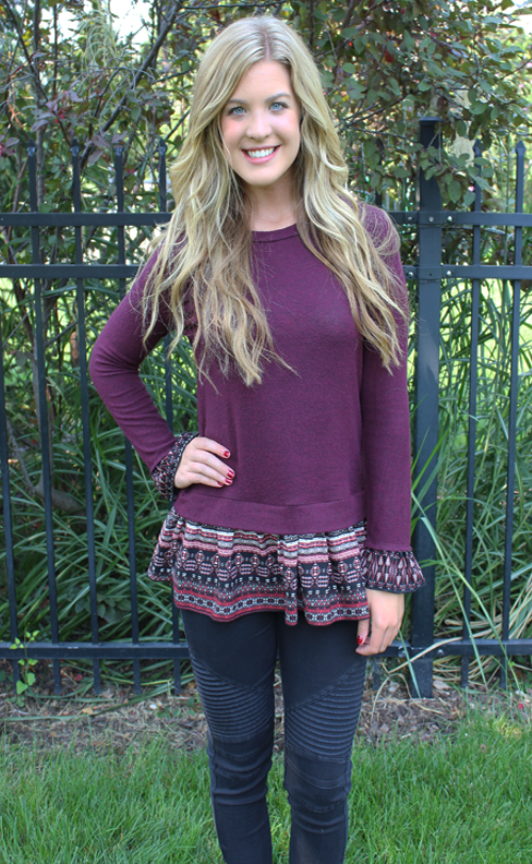 Soft Burgundy Long Sleeve Sweater with Print Ruffle Detail