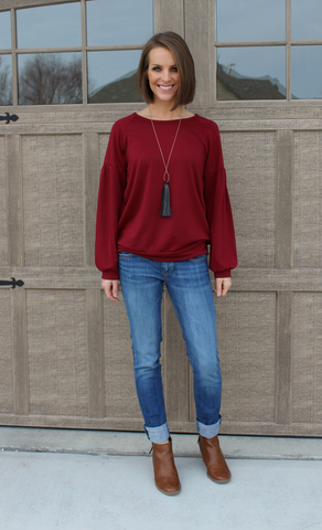 Burgundy Lightweight Sweatshirt