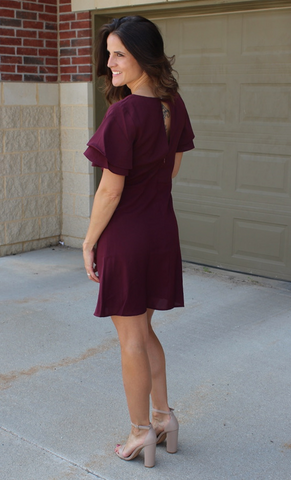 Wine Double Ruffle Dress