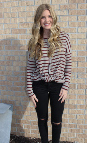 Burgundy Striped Button Up Top