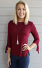 Super Soft Stretchy Maroon 3/4 Length Sleeve Top