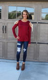 Burgundy Tunic with Tie Sleeves