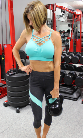 Charcoal Workout Capri Pants with Mint Stripe and Back Zipper Pocket