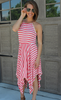 Striped Coral Asymmetrical Dress