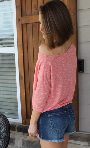 Coral Off Shoulder Top