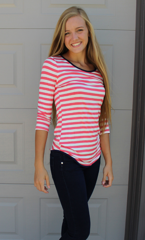 Coral Striped ¾ Sleeve Top with Navy Neckline and Criss Cross Back Detail