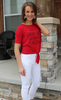 Red Tie-Bottom Short Sleeve Graphic Tee Shirt