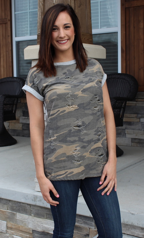 Distressed Medium Weight Camo Short Sleeve Top