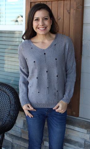 Distressed Ribbed Grey V-Neck Sweater