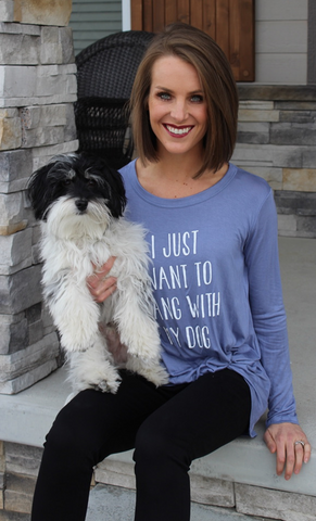 I Just Want to Hang with My Dog Long Sleeve Blue Top