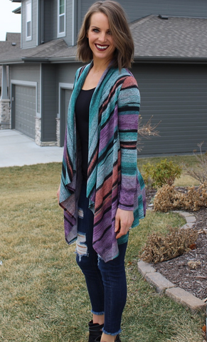 Multi-Colored Open Front Cardigan