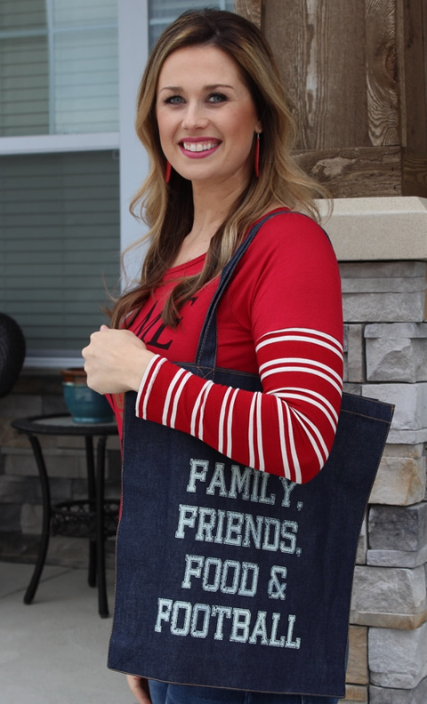 Family, Friends, Food & Football Denim Bag