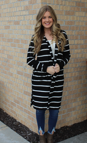 Super Soft and Fuzzy Long Black and White Cardigan
