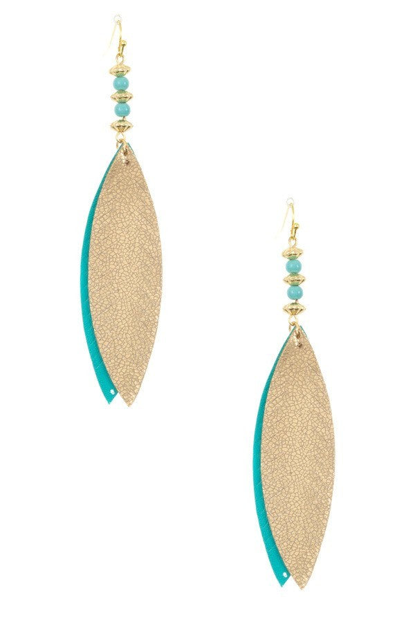 Gold and Turquoise Leather Earrings