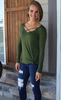 Soft Long Sleeve Top with Criss-Cross Neck Detail