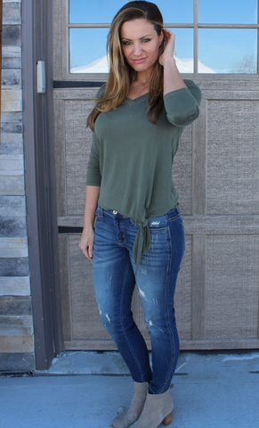 Green V-Neck ¾ Sleeve Top with Tie Bottom