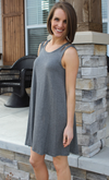 Grey Jersey Tank Dress with Split Shoulder Detail