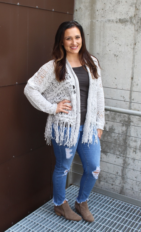 Grey Ribbed Knit Fringe Cardigan