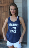 Navy Blue Resting Gym Face Muscle Tee