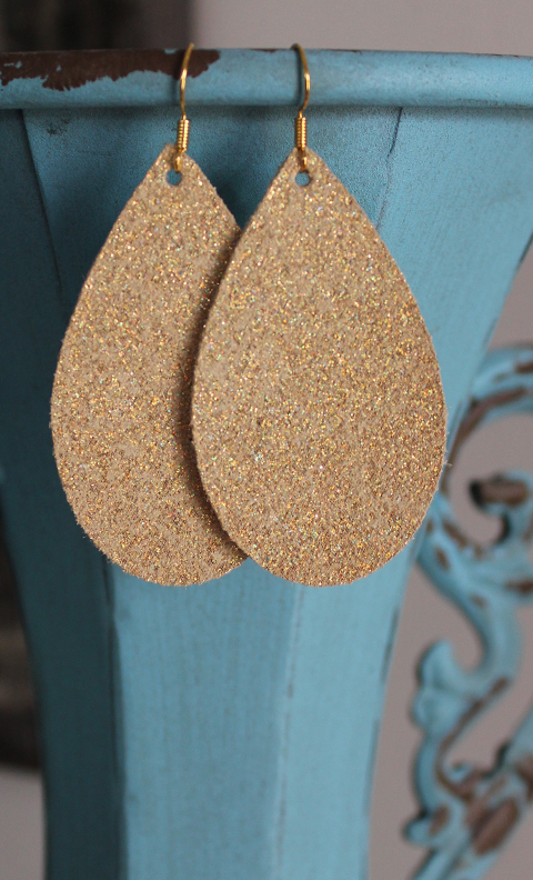 "Iridescent Gold Leather Earrings - Medium Teardrop (2.25"")"