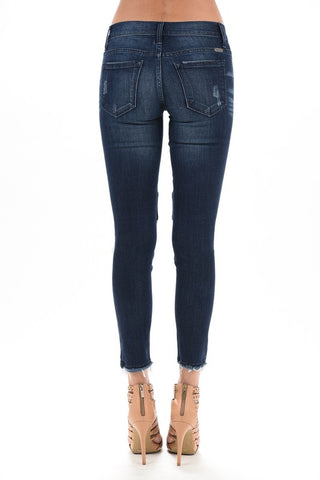 KanCan Stretch Moto Frayed Leg Jeans