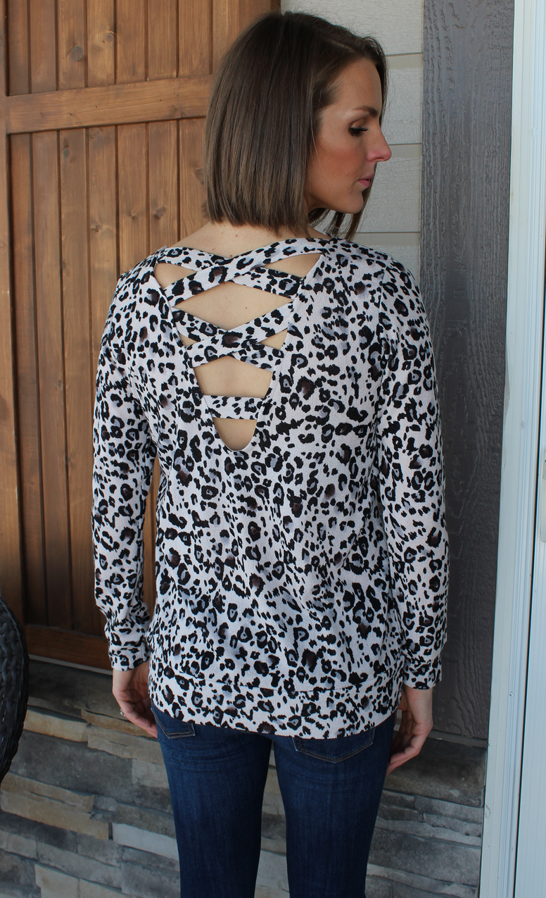 Leopard Print Sweater with Criss Cross Back Detail