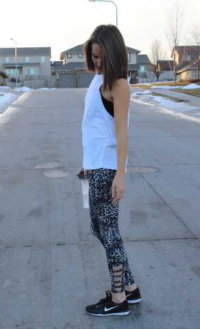 Soft Criss Cross Animal Print Workout Pants