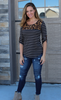 Striped ¾ Sleeve Top with Leopard and Button Details
