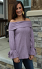 Soft Off the Shoulder Lilac Top with Bow Detail