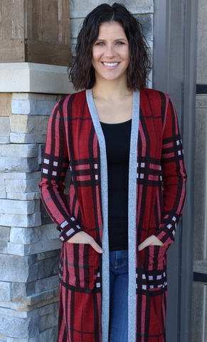 Black and Red Long Plaid Cardigan With Pockets