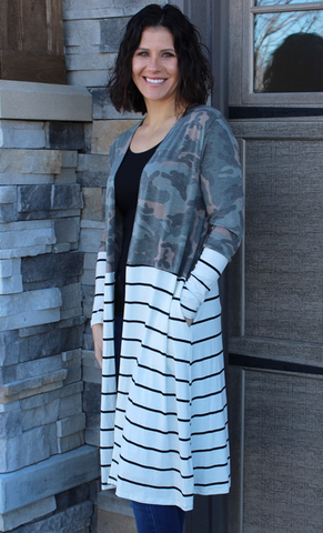 Camo and Ivory Striped Long Cardigan
