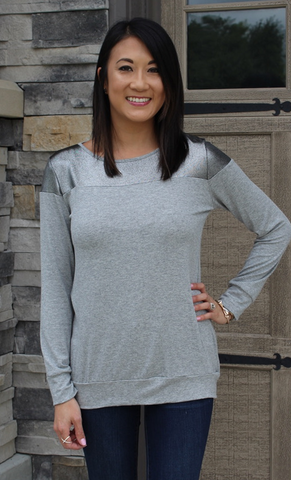 Black or Grey Banded Top with Metallic Accent\