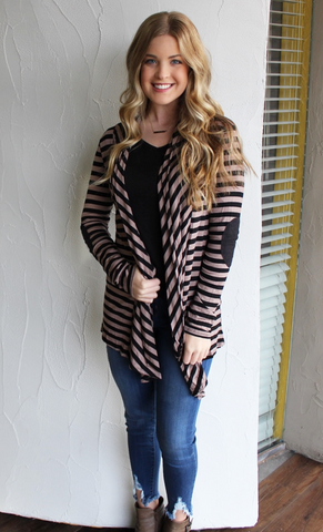 Black and Mocha Striped Cardigan with Elbow Patches