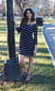 Navy and White Striped ¾ Sleeve Dress
