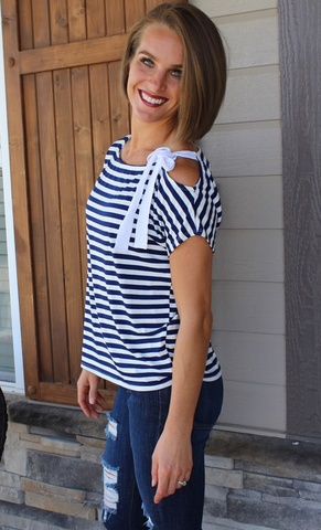 Navy and White Striped One Shoulder Top