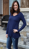 Navy Flared Long Sleeve Top with Choker Detail