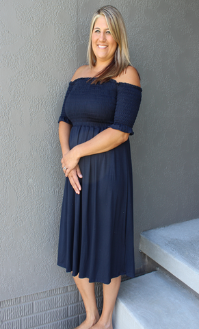Navy Off the Shoulder Stretchy Dress