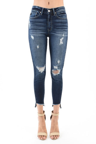 KanCan Distressed Frayed-Hem Jeans