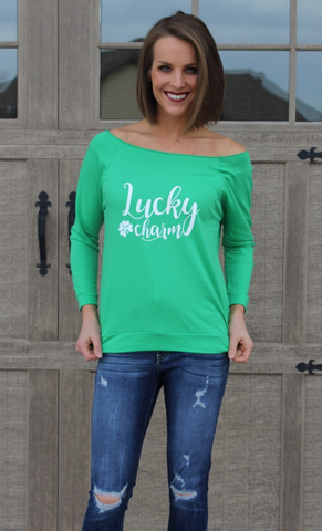 Off the Shoulder Green Lucky Charm Long Sleeve Top
